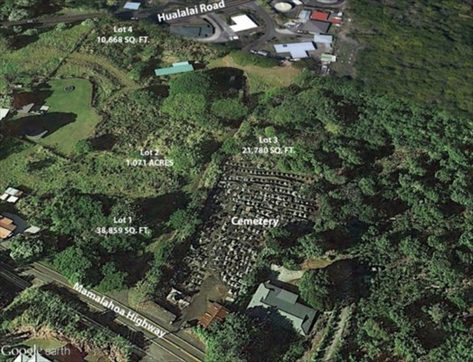 Rarely available 21,780 Sq. Ft. lot in Holualoa. Recently consolidated and resubdivided. Tax map key number and current County of Hawaii records do not match current lot configuration.