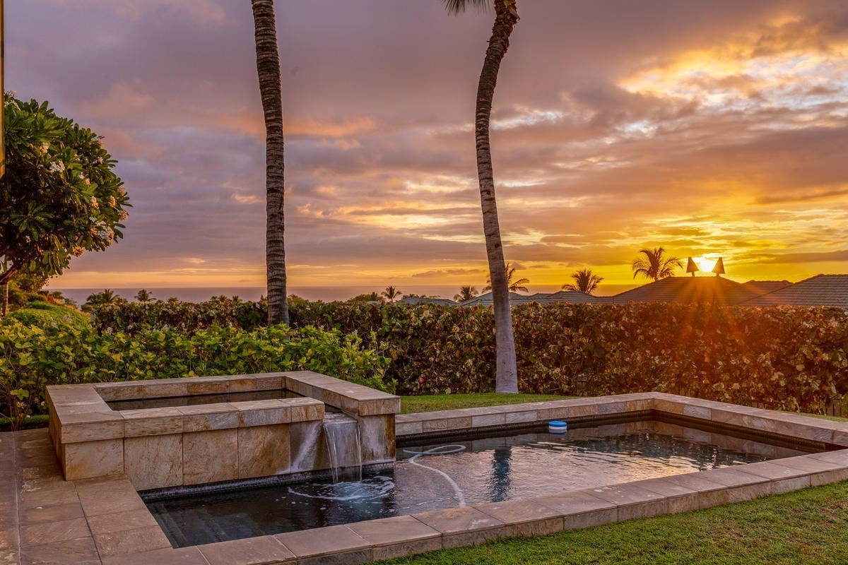 Beautiful ocean/sunset and Kohala Mountain Views from this well cared for duplex unit with private heated built-in pool and spa, custom window coverings, Wolf and Subzero outdoor kitchen, granite counters in the kitchen and bathrooms, 2 zone A/C, large sliding pocket doors to the lanai, jr. master soaking tub, outdoor master shower, stained wood trim package, large lanai, LED lighting throughout and no steps. Sale includes all furnishing (some art/personal items excluded) and can be a turn key vacation rental. Access to Wai'ula'ula Owners Exclusive Amenity Center with Pool, Spa, Fitness Center, Kitchen and Event Room. Owners have the opportunity to join The Club at Mauna Kea with three separate levels of resort member amenities including golf, beach, tennis, fitness, owner discounts, etc.