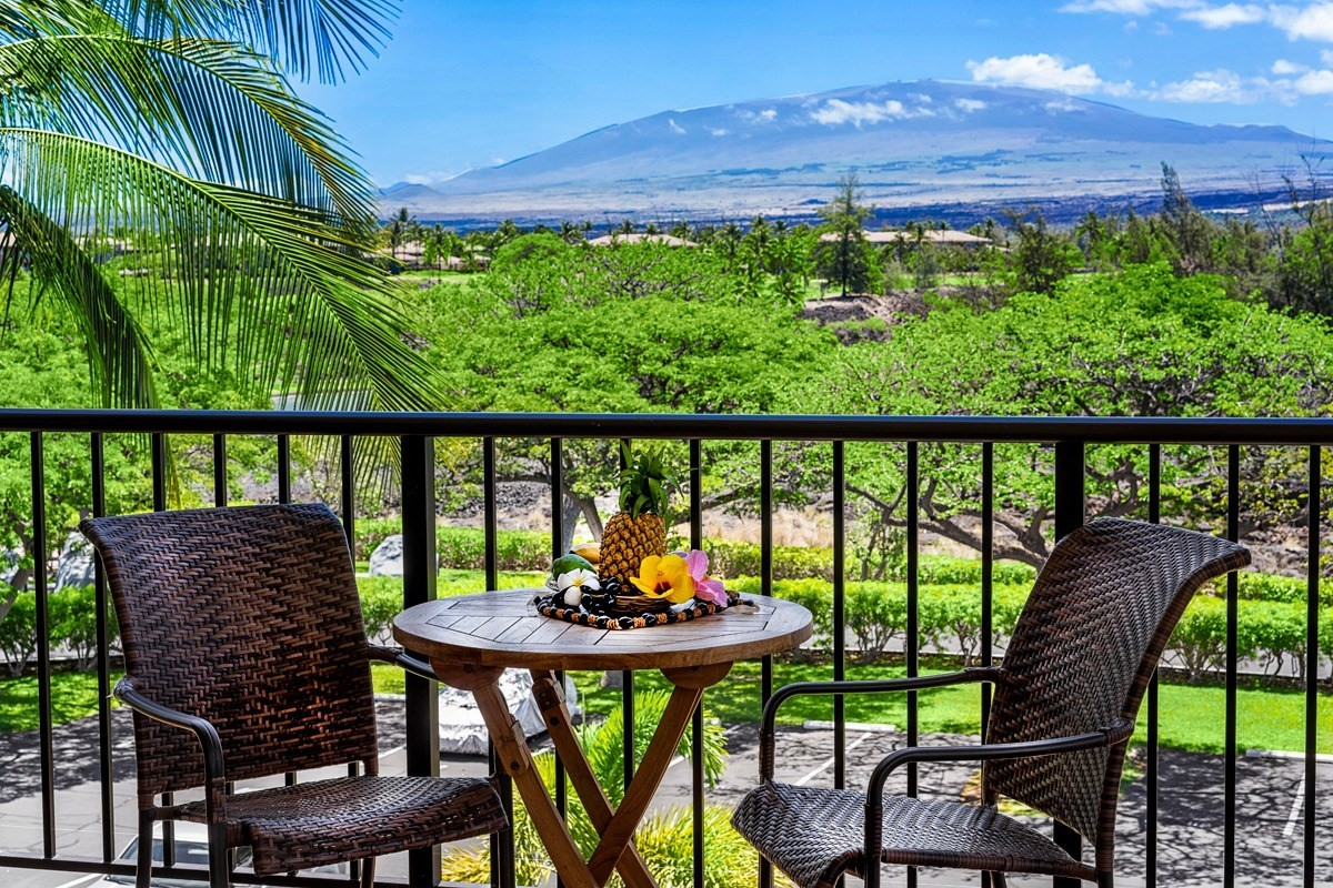 "Top floor penthouse style unit with panoramic views of Mauna Kea, Mauna Loa, and Hualalai mountains. This one-bedroom one bath unit has a vaulted ceiling in the living room and upgrades that include ceramic tile flooring throughout, granite countertops in kitchen and bath, spacious walk-in shower, ceiling fans in the living room, dining area, and bedroom, and central a/c throughout. Refrigerator and washer/dryer. The large wrap-around lanai offers an unparalleled outdoor experience in the resort with fairway views of the golf course. Due to the owner's attention to detail, she has been designated a ""Super Host"" with Airbnb, a designation that will roll over to the new owner. Contact the agent for rental history.Features:- The 253 square foot wrap-around- 9-foot ceilings, with 12-foot ceilings in the living area- Well maintained and cared for vacation rental- Walk-in Shower- Nice and bright tile- Lots of cabinets in the kitchens with granite countertops- Ceiling fans in the living room and bedroom- Wrap-around window bring in the amazing viewsThe Shores:- Amenity Center, with pool, hot tub, and owner's kitchen- Great A/C'd fitness center- Three BBQ area's- Two tennis courts, soon to be resurfaced- Gas grills are permitted on the lanai- A resident manager- Easy walk to the beaches- Nearby to all resort amenitiesInformation heron may contain inaccuracies and is provided without warranty or guarantee of any kind. Agents and buyers must independently verify any information they deem material or important to their purchase or any offered price thereunder, including but not limited to, square footage, property taxes, permits, condition of the property, and applicable homeowner association fees."