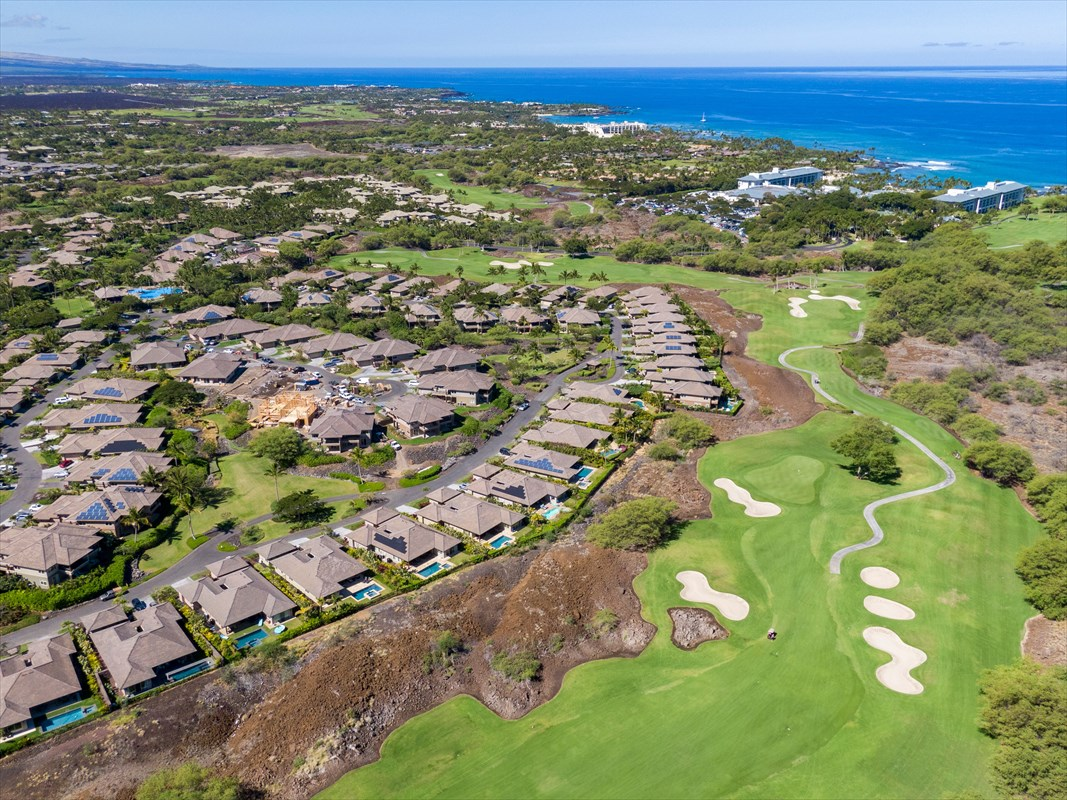"""MAUNA LANI'S #1 SELLING DEVELOPMENT is now selling the final phase of BRAND NEW HOMES!Welcome to """"Hoku"""" Home 343. 3 Bedrooms 3.5 Bathrooms with bonus roomLiving, 2,174 SF + 2 car garage and lanai total= 3,176 SFLocated in a quiet, private cul-de-sac and tucked back next to The Mauna Lani North Golf Course, this SINGLE LEVEL DETACHED home offers the ultimate privacy and serenity, yet is steps away from World Class Amenities!This home's captivating charm begins with the expansive courtyard entryway. Enter through custom, solid merbau wood doors and gaze through the spacious, open floor plan to your own private pool and spa beyond. Inside, quality surrounds you. Vaulted ceilings, his and hers master bathroom vanities, en-suite baths in each bedroom, and tile flooring throughout are just a few of the luxuries within this home.Upgrades Include:Private Pool and SpaBuilt in BBQGray Quartzite Porcelain Tile Throughout Entire Home (no carpet!)Thermador Appliance PackageWine ChillerFine Granite Island and Counter TopsGrass Cloth Ceiling Treatment and Dual Head Fan in Great RoomSeagrass Limestone Bathroom CountersHome 343 has a private, fenced backyard and all landscape is maintained by the association, making it the perfect vacation home or full time residence!New to The Ka Milo community...?KaMilo is a low density, gated community with single family and paired homes, two-car garages, lush tropical landscaping and NEW Construction. Ka Milo is located on the North Course of the Mauna Lani Golf Course within Mauna Lani Resort. Ka Milo's 2-acre private recreation village includes a  lagoon style large pool, lap pool, 2 spas, fitness center, outdoor gathering pavilion and event lawn create an oasis for the whole family. Walking & biking from Ka Milo lead to shops, dining, white sand beaches, and more.  PLUS 1-year Builder Warranty (Why buy used?)"""