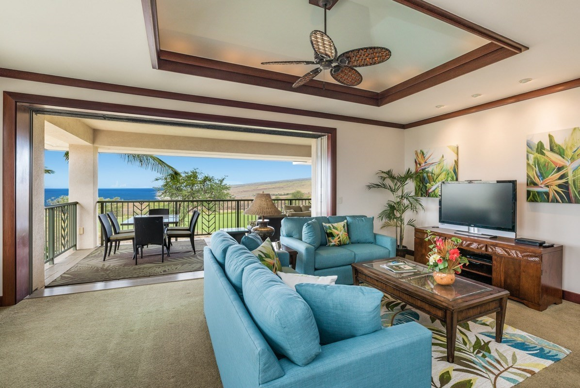 "Opportunity to own a clean and updated unit within the private gated community of Wai'ula'ula at Mauna Kea Resort. Wai'ula'ula M201 overlooks the 11th fairway and green of the Hapuna Golf Course while offering unobstructed ocean, coastline, sunset, Kohala Mountain and Maui views. Wai'ula'ula M201 was recently updated with all new interior paint, furnishings, art and interior design. The unit is being sold fully furnished and in ""move in"" condition. The 3 bedroom 3 bath unit has 2 masters bedrooms on the view with 2,111 SF of air-conditioned living space, 253 square feet of covered lanai and patio together with a spacious one car garage with storage, plus 1 uncovered undesignated parking stall. The unit has strong vacation rental history with advanced bookings in place. Features include travertine floors in the kitchen, wall to wall carpet in the great room and bedrooms, vaulted ceilings with crown molding, cherry wood cabinetry throughout, framed pocket doors, granite counter tops, Wolf stainless steel gas cook-top, wall oven and microwave as well as a SubZero stainless steel refrigerator. The unit also includes Mahogany doors, Mahogany trim and high ceilings adding an aesthetic contrast. In addition to the Mauna Kea Club amenity opportunities, owners at Wai'ula'ula enjoy the benefits of the private amenity center with a fitness room, infinity pool, keiki (childrens) pool, spa, recreational pavilion with meeting room, and an outdoor BBQ area. The clubhouse is equipped with a complete kitchen, a large flat screen TV, and ample seating. The clubhouse is a special feature that can be reserved for private meetings or entertaining. Owners and guests at Wai'ula'ula enjoy the convenience of being within close proximity to Mauna Kea Beach and Hapuna Beach, two of the finest white sand beaches in Hawaii."