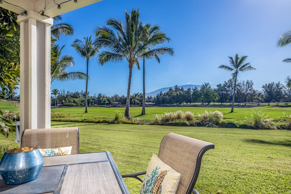 Meticulously maintained two bedroom, two bath, first floor unit with view of Mauna Kea and the first hole of the Beach golf course from the lanai.  Enjoy upgraded black stainless steel refrigerator, microwave, dishwasher, and oven and a touchless kitchen faucet.  Zoned to allow short term vacation rentals and owner has applied for permit. Offered fully furnished and includes a dedicated parking space.  New washer and dryer and water heater were upgraded 3 years ago.  Phantom screen door allows owner to enjoy tropical breezes.D4 is right on the golf course within walking distance to Kings and Queens Shops and less than a mile to the beach.  Upgraded light fixtures, fans, window coverings, and appliances make this home a must see. Secluded, private, gated neighborhood tucked away in one of the busiest resorts on the coast, perfect for an active lifestyle with paved, private resort roads and shady sidewalks.  No steps for easy access to this level entry ground floor unit and assigned parking stallFairways Villas at Waikoloa Beach Resort has an infinity pool, hot tub, and workout center overlooking King's Lake. Association fees include onsite manager, Spectrum Cable TV, high speed WiFi Internet, and phone (including free calls to Canada and Mexico), water, sewer, trash removal, common area maintenance, building insurance, exterior pest control, and the Waikoloa Beach Resort Master Association fees.