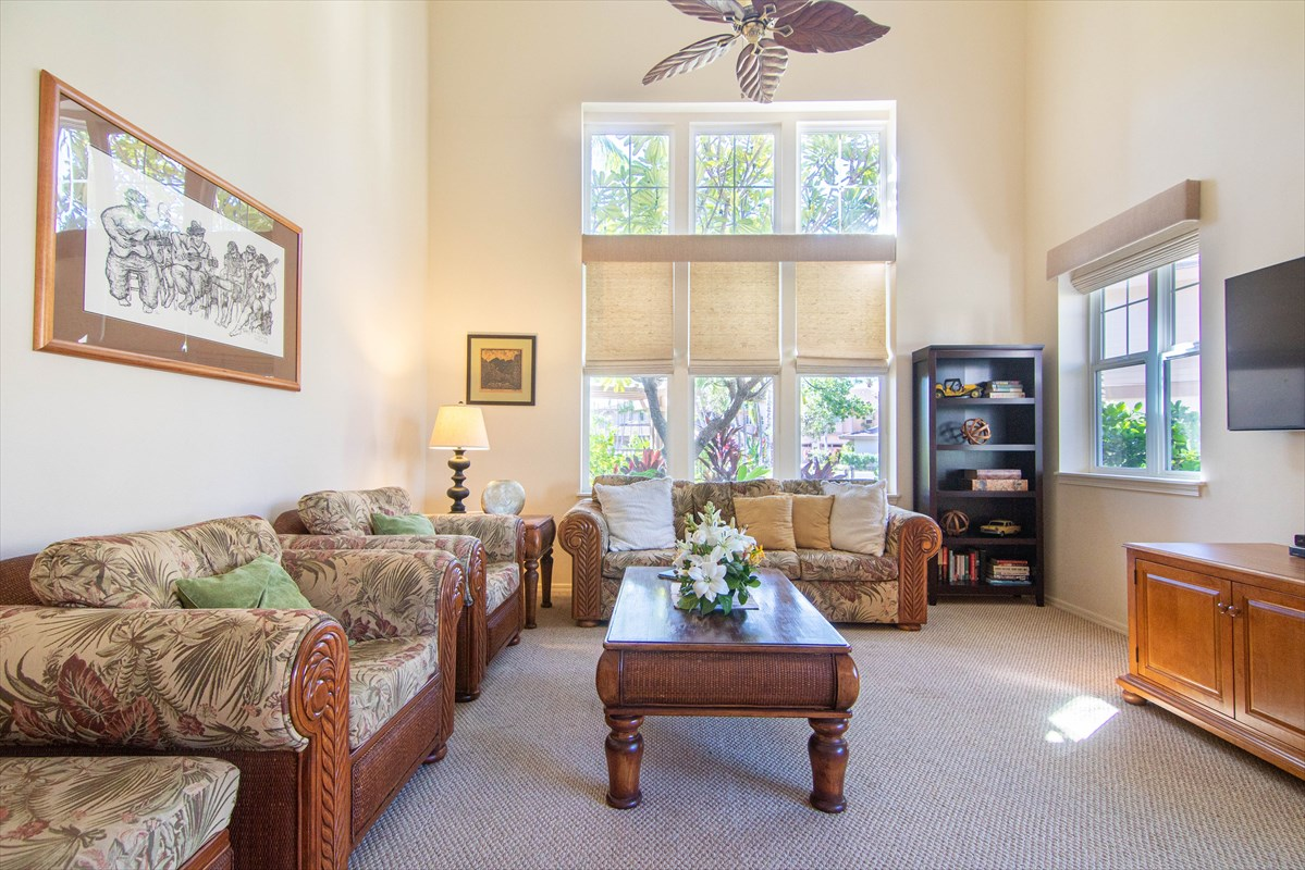 One of the more spacious units at Waikoloa Colony Villas, this 3 bedroom, 2.5 bath split level townhome has been exceptionally maintained. You will love the privacy with no one above or below you. The kitchen features granite countertops with a breakfast bar. The living room has vaulted ceilings with plenty of natural light from the tall windows. A covered lanai is easily accessed from the living room or dining area and a half bathroom completes the downstairs area. Three bedrooms are upstairs including the master bedroom and private lanai. The master bathroom has double sinks, a walk-in shower and separate soaking bathtub. There is ceramic tile flooring in the kitchen, entryway, dining area and bathrooms, along with well maintained carpet in the bedrooms and living room. Best of all there is central Air Conditioning to keep you cool and comfortable for those warm summer days. There is an attached one car garage and one assigned parking stall. This gated community features 2 lagoon style pools with spa/hot tub, 2 fitness centers, tennis court, BBQ area and club house that you can reserve for large gatherings. The HOA fees include basic cable, water, sewer, exterior pest control, trash disposal, and common area maintenance and insurance. Within Waikoloa Beach Resort are two shopping centers, a luxury movie theater, several restaurants and epic beaches for snorkeling, paddle boarding and swimming.