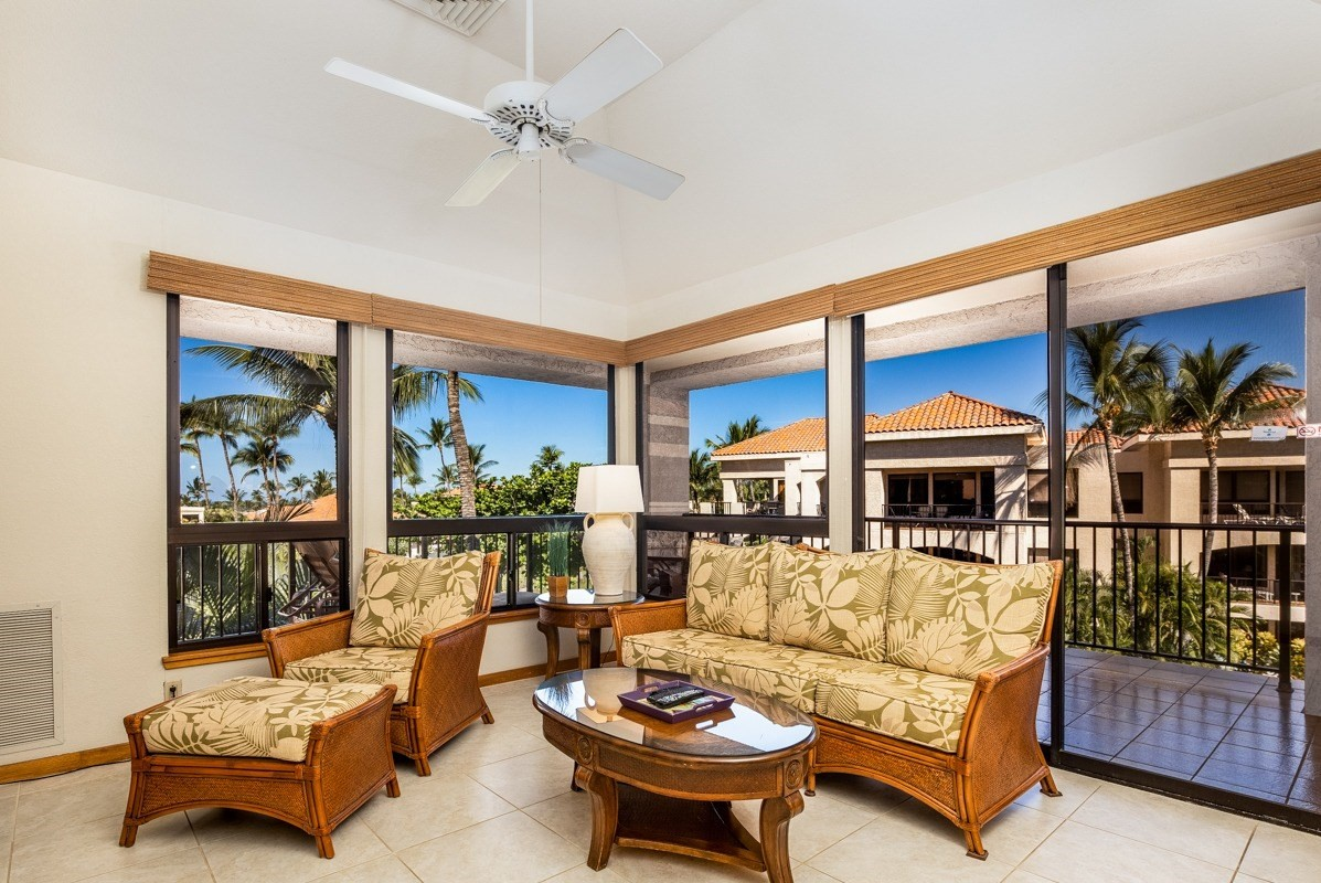 Entering the gate at The Shores, you are greeted by mature landscaping, manicured lawns and glistening Koi ponds. Approaching the Bo Tree Towers courtyard, Monkey Pod trees shade you from the sun. Take the elevator to the third floor to find this one bedroom, 1 1/2 bath deluxe penthouse, with ocean views, a rarity in Waikoloa Beach resort condos under $700,000.  Watched over with care, this condo has been lightly rented and well maintained. There is upgraded ceramic tile flooring throughout. Also find new appliances, fixtures, and prized teak wood cabinetry.  In the master, the teak double doors open to reveal Koa wood laminate floors and large picture windows adding an abundance of natural light. Large enough for a king size bed, this room is spacious and comfortable. The master bath boasts ceramic tile flooring, a double vanity, and new shower, adorned with tile and fresh finishes such as a rain shower showerhead. This condo is sheltered from the hot sun so enjoy the breeze and turn off the AC. Picture windows and a vaulted ceiling make it light and spacious. You'll have your choice of dining in the comfort of AC or out in the fresh Hawaii air on the oversized wraparound lanai. Prepare tropical beverages at the teakwood wet bar and relax and view the swaying palm trees, out to the Pacific Ocean. Amenities on the property include 2 tennis courts, workout facility, BBQ areas, poolside catering kitchen, heated pool/ hot tub. Close by is Anaeho'omalu Bay with white sand beach known for snorkeling and whale watching. Golf in your backyard at the 2, 18 hole courses, then stroll to dinner at the Kings or Queen's shops or shoreside at Lava Lava Beach Club. Offered furnished excluding some artwork.