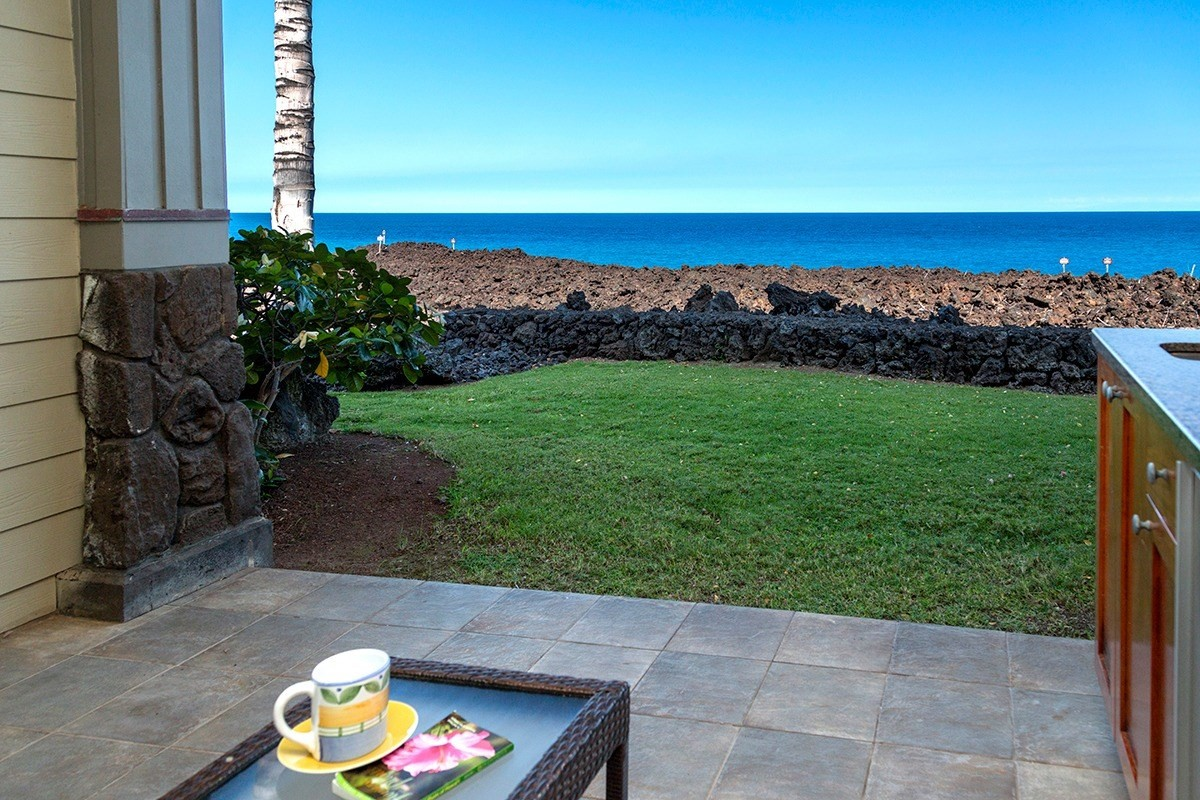 There is only so much direct oceanfront...at Halii Kai that means three buildings and Building 15 is perhaps the most private oceanfront of all. This two bedroom/2 bath ground floor condo has plenty of grassy area between your lanai and the lava conservation zone...and beyond that, nothing but blue ocean and Maui in the distance. This is the only oceanfront condo currently for sale at Halii Kai.Sunsets? Year-round. Whales? In season, you can hear them at night from the master bedroom and see them frolic just a few hundred yards offshore.Halii Kai 15C comes turnkey furnished with a strong vacation rental history, thanks to the discerning renters who prefer to be ON the ocean.The front row villas at Halii Kai feature upgraded stainless steel appliances (SubZero and Wolf) and a built-in wetbar on the lanai. Granite countertops in kitchen and bathrooms. Upgraded wood-look flooring so you can drag sand in from the beach without concern. And best of all, the short walk to the Ocean Club amenities.Halii Kai's private restaurant is open for food and cocktails til sunset. Enjoy the lagoon-style saltwater pool and sand-bottom hot tub, open air exercise cabana, and gathering areas with wireless Internet available. Halii Kai also has a tennis court and half-basketball court for residents and guests.The beach at Anaehoomalu Bay is to the south, or walk the oceanfront Ala Kahakai trail to the beaches at Mauna Lani to the north. High end boutiques and restaurants at the Kings Shops; entertainment and gourmet grocery at the Queen's Marketplace; and two golf courses round out the attractions of Waikoloa Beach Resort.