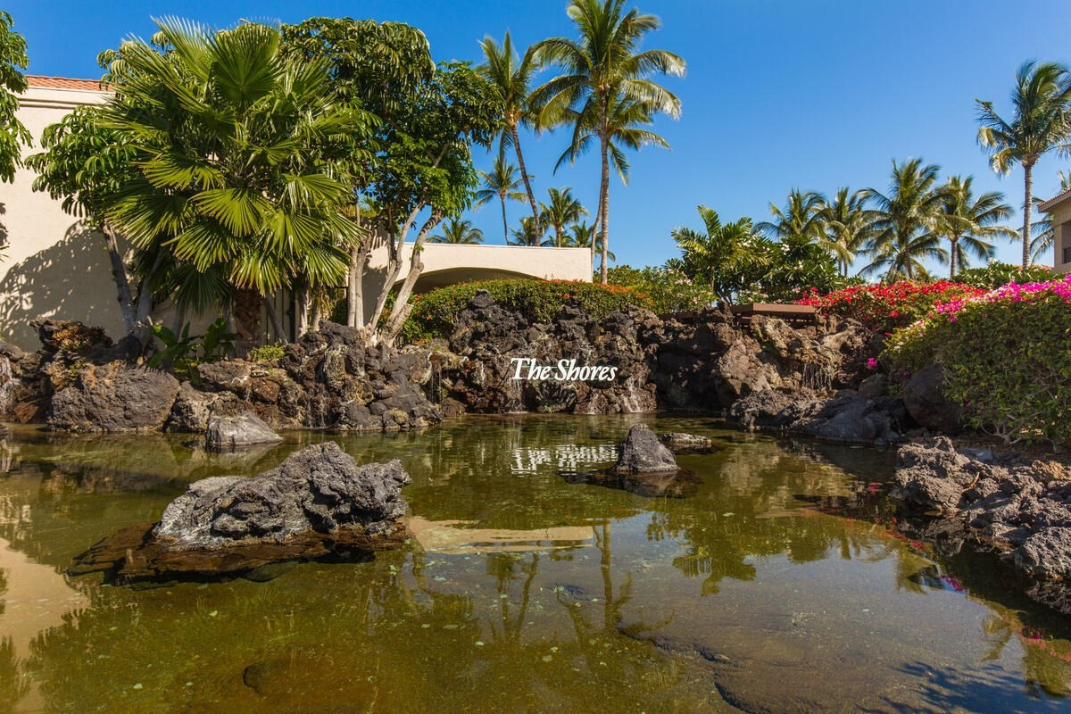 A top floor unit located in the Bo Tree Tower in the Shores.  This condo has a large L-shaped lanai with wonderful views of the ocean, mountains, and golf course too. The a/c system was replaced in 2018. The Shores is known for the wonderful grounds including koi ponds and the close proximity to all that Waikoloa Beach Resort has to offer ~ walk to shops/restaurants/beach.  This condo is being sold turnkey and has been in the Aston vacation rental program for years.