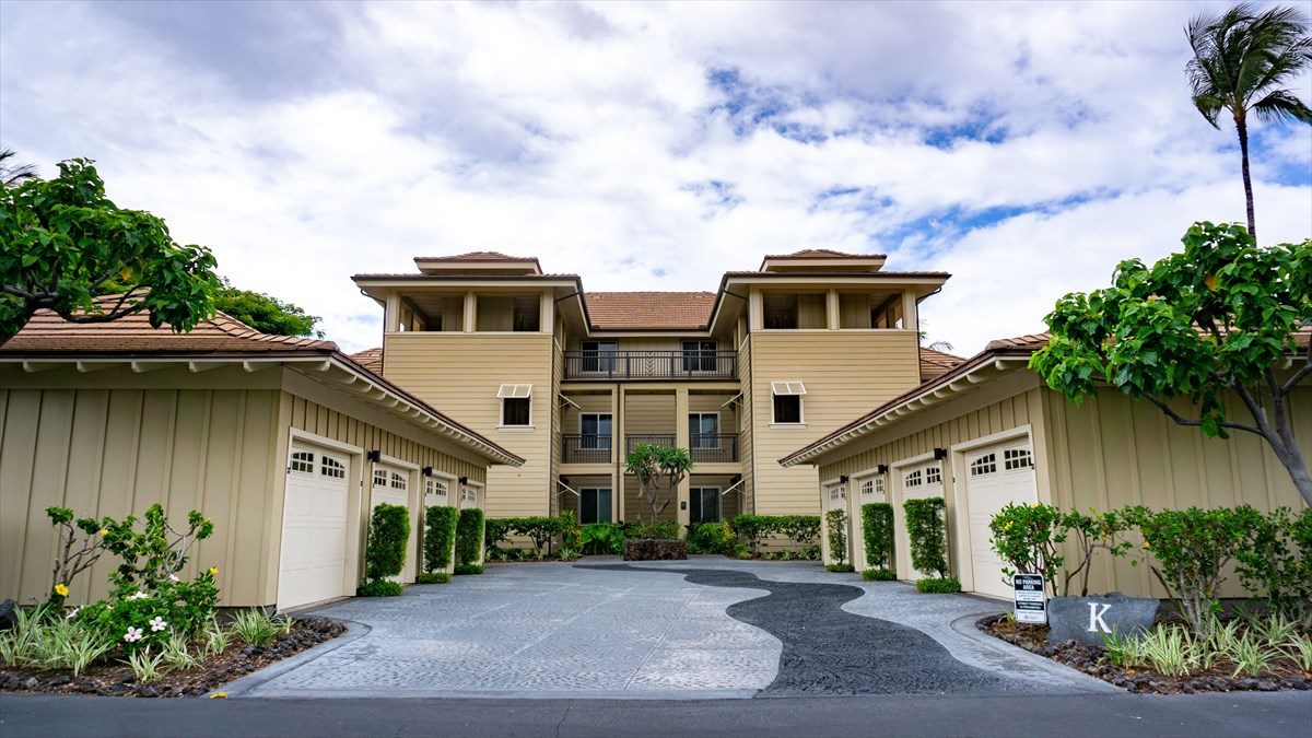 A fantastic unit in one of the most sought after complexes on the Kohala Coast. This property boasts picturesque views from the top floor of this wonderful community. Enjoy the pristine scenery of the Robert Trent Jones designed Beach Course, as your balcony overlooks the third hole's fairway, endless palm trees and glimpses of all of the natural wonders that call Hawaii home. Being on the top floor of this building provides the utmost in serenity with the absence of neighbors above you. This one story two bedroom / two bathroom 1209 Sq ft unit has all the right touches to be the new place you call home, a vacation rental with endless possibilities, or a hybrid of the two. Featuring granite countertops in the kitchen and a mix of tile flooring and the comfort of carpet in the bedrooms. This property is being sold furnished with a handcrafted wood bedroom set, dining room table and chairs, sectional couch, coffee table, and brand new stackable washer and dryer. Worried about climbing stairs to the third floor? Let those worries melt away with convenient elevator access that brings you a few steps from the front door. A detached garage provides room for not just your car , but any beach toys that you have ready to go for endless trips to the beach. Easy access to both lagoon like pools complete with spa. Monthly fees include common area maintenance, water, trash, sewer, pest control, landscaping, and a reduced rate on cable and internet pricing. An exercise room is available for use and the proximity to shops, restaurants, and a dine-in movie theater are located just right across the street. This is Big Island living at its finest.