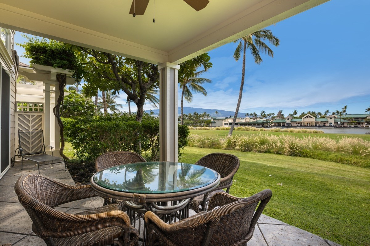 """Offering one of the best located units within the Fairway Villas at Waikoloa Beach Resort. The spacious 1,800 square foot 3 bedroom 3 bathroom townhome style condominum overlooks the 4th fairway of the Waikoloa Beach Golf Course and is located within close proximity to the the community amenity center and exercise room. The unit enjoys expansive views of the golf course, King's Lake and Hualalai. The unit is being sold turnkey furnished and in """"move in"""" condition. The open floor plan easily flows from the entry, to the kitchen and living areas then out to the lanai. The spacious guest and master bedrooms are separated from each other for privacy. The unit has a bonus room off the master bedroom that is ideal for an office or media room. The unit has a detached spacious one car garage. Enjoy quality, tropical furnishings as well as other high quality finishes and upgrades that include granite counter tops, stainless steel appliances, cherry cabinets and much more. The Fairway Villas is a gated community in the heart of Waikoloa Beach Resort that offers residents exclusive use of an entertainment pavilion with an infinity edge pool and elevated spa, poolside picnic and dining area with gas barbecues, a fully equipped exercise room and nearby golf and tennis privileges. This exclusive community is in walking distance to the Kings Shops, Queens Marketplace and the breathtaking Anaeho'omalu Bay. Waikoloa Fairway Villas M4 is a popular vacation rental with a proven track record. Rental income data available for qualified Buyers.HOA fees include water, sewer, garbage, building/grounds maintenance, reserve funds for future maintenance, exterior building insurance, and exterminating. HOA fees also include 200+ TV and music channels, high-speed internet and a landline.Resident Manager - only RM in the entire Resort. Available after hours for emergencies."""