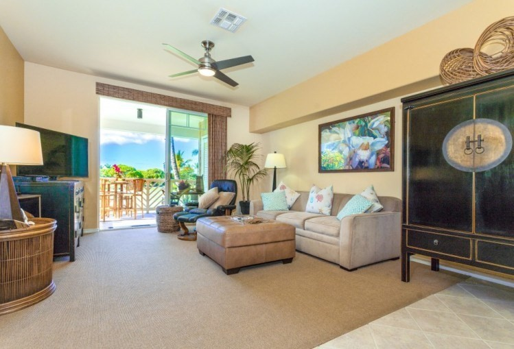 """This fully furnished luxury Waikoloa Beach condominium is a 2Br/2Ba unit that has been well maintained and has various upgrades over the past few years including appliances, light fixtures, fans with remotes and lights, faucets, furniture, and very importantly, quiet and efficient central AC. Located well off Beach Drive in the lush tropical private gated community of the Fairway Villas, this 1033 sq. ft. unit is on the second floor of the I-Building, which is the last building on the west part of the complex. Accordingly, there is no through traffic to disturb your peace and quiet and no passersby to disturb you while you are relaxing on your west-facing lanai enjoying a morning cup of Kona coffee or taking in a magnificent Hawaiian sunset. Waikoloa Beach area has some of the best weather in Hawaii, the sun shines almost every day of the year, ensuring endless summers and evening after evening of colorful skies. It's the perfect place for retirement!Conveniently, this unit includes a deeded covered parking stall just steps from the elevator and a covered staircase. When originally built, this unit was one of the upgraded units, which included upgraded granite and marble tile work. The lanai has a utility closet for the hot water heater and AC unit; however, there is space to store a couple of bikes via hanging on the installed ceiling hooks. Fully equipped and move-in ready. It is a short walk from Queens' Marketplace, the Kings' Shops, and the beautiful beach at A-Bay via the front gate or a """"short cut"""" across Hole 4 of Beach Course, which is one of two world-class golf courses at Waikoloa Beach. The Fairway Villas has a spacious water recreation area that includes an infinity pool, hot tub, lounge chairs, and large umbrellas. The pool area is a short walk from the unit. Adjacent to the pool area is a barbeque area, with six gas-fired BBQ's. There is a well-equipped exercise area, a lounge area, and storage lockers that can be leased."""