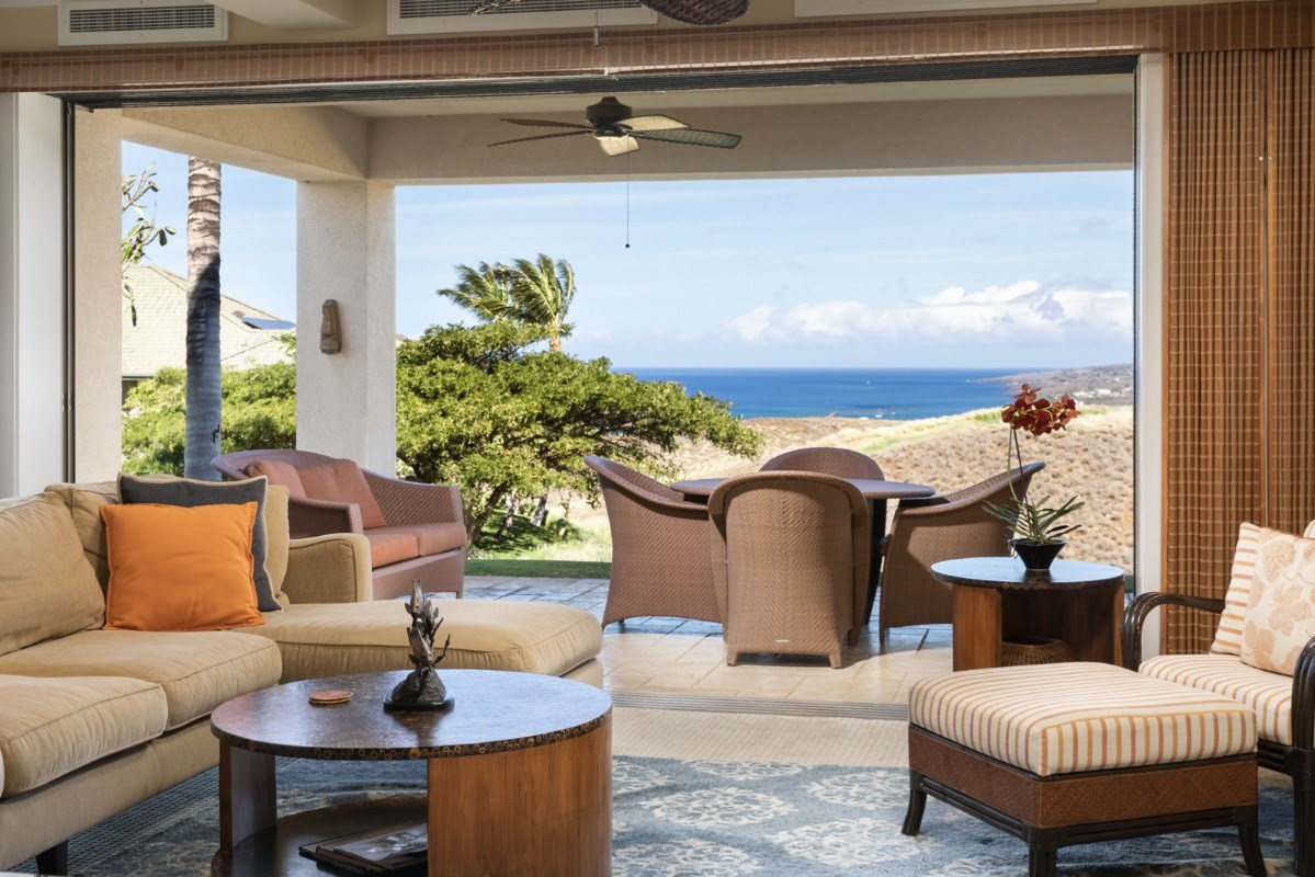 A furnished unit on Hapuna's 11th fairway with ocean views.  Waiulaula is known for its quality construction and luxury appointments including natural stone flooring, cherry cabinets, pocket sliding pocket doors; zoned A/C, Wolf, Subzero appliances, granite and marble counters, outdoor BBQ and more.The Amenity Center has an infinity edge pool, keiki pool, extra large whirlpool, barbeque, an exercise room, game room, and a community kitchen. Residents are invited to join the Club at Mauna Kea which provides access to amenities at both Westin Hapuna Beach and the Mauna Kea Beach Marriott Autograph Collection.  Amenities include fitness rooms, pools, the Seaside Tennis Club and golf courses.
