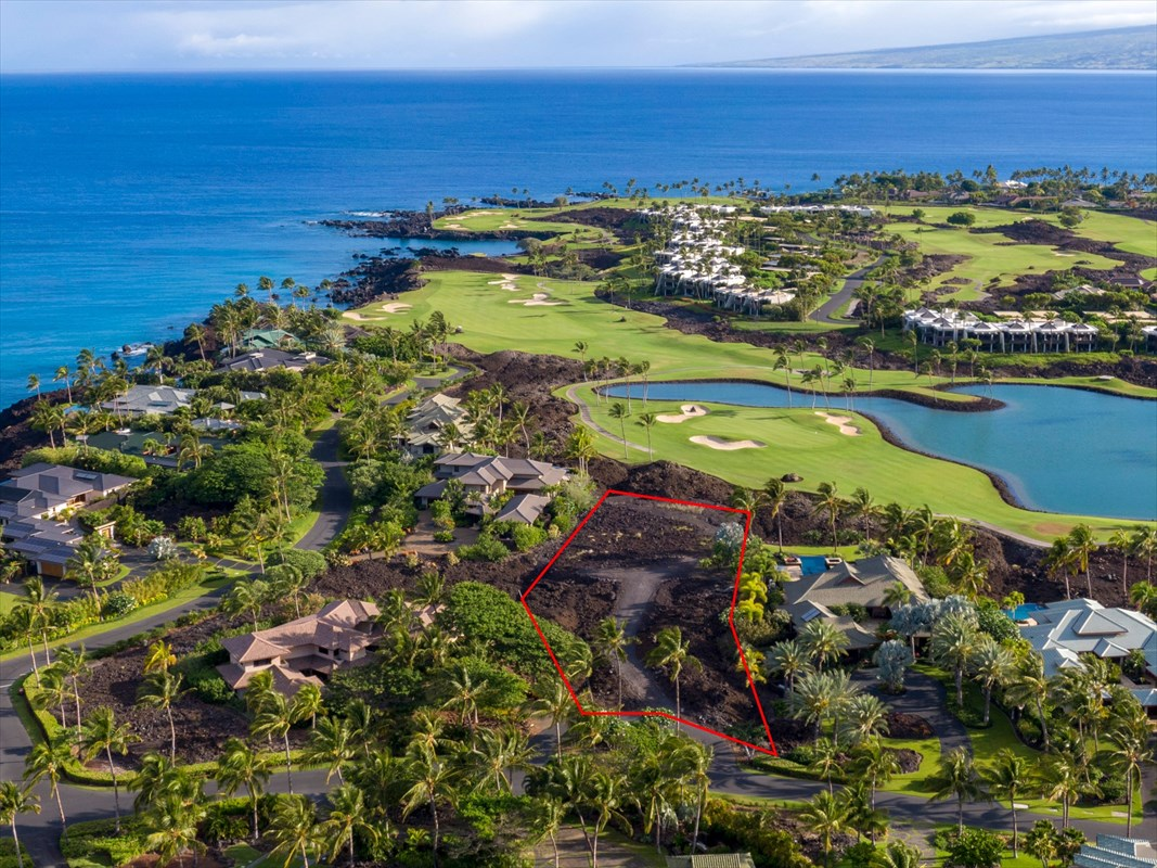 Situated within the exclusively gated and guarded 49 Black Sand Beach community, this 1.13 acre land parcel elevated above the 12th fairway of the Mauna Lani South Course provides direct ocean views and has a buffered driveway access from Honokaope Place for extra privacy. High-quality, beautiful homes are already built on either side of the lot to avoid future disruption and ensures that views will not be impeded.Walk to the community's black-lava sand beach where the tropically elegant private owner's clubhouse is located. Facilities include a 25m lap pool, spa and day beds for soaking up the Kohala Coast sunshine, private wine storage, a tennis court and the convenience of owner storage for beach toys such as stand up paddle boards and kayaks. The clubhouse can also accommodate private parties and catered events for owners and their guests.The property has been proactively staked to quickly discern the corner boundaries and it's easy to tour by driving your vehicle all the way to the prime area of the building site. Sample house plans designed by highly regarded Big Island luxury home architect Rohn Marvick of Weigang Marvick & Associates are available – or, design your own custom dream home in paradise!Walking distance to the Mauna Lani Owner's Private Beach Club and just a short golf cart ride to all of the resort's valuable amenities and conveniences including the Foodland grocery store, local shops and diverse dining options. The Mauna Lani Sports & Fitness Club offers several night-lit tennis courts, a full gym with broad range of fitness classes, an Olympic-sized pool and a full-service Spa.Take advantage now of the major renovations and updates being made to the resort as the Mauna Lani Bay and Bungalows Hotel transforms to the Mauna Lani Auberge Resorts Collection, spotlighting new attention on the overall resort. The time is right to buy and build in Mauna Lani on one of the best remaining ocean-view lots!