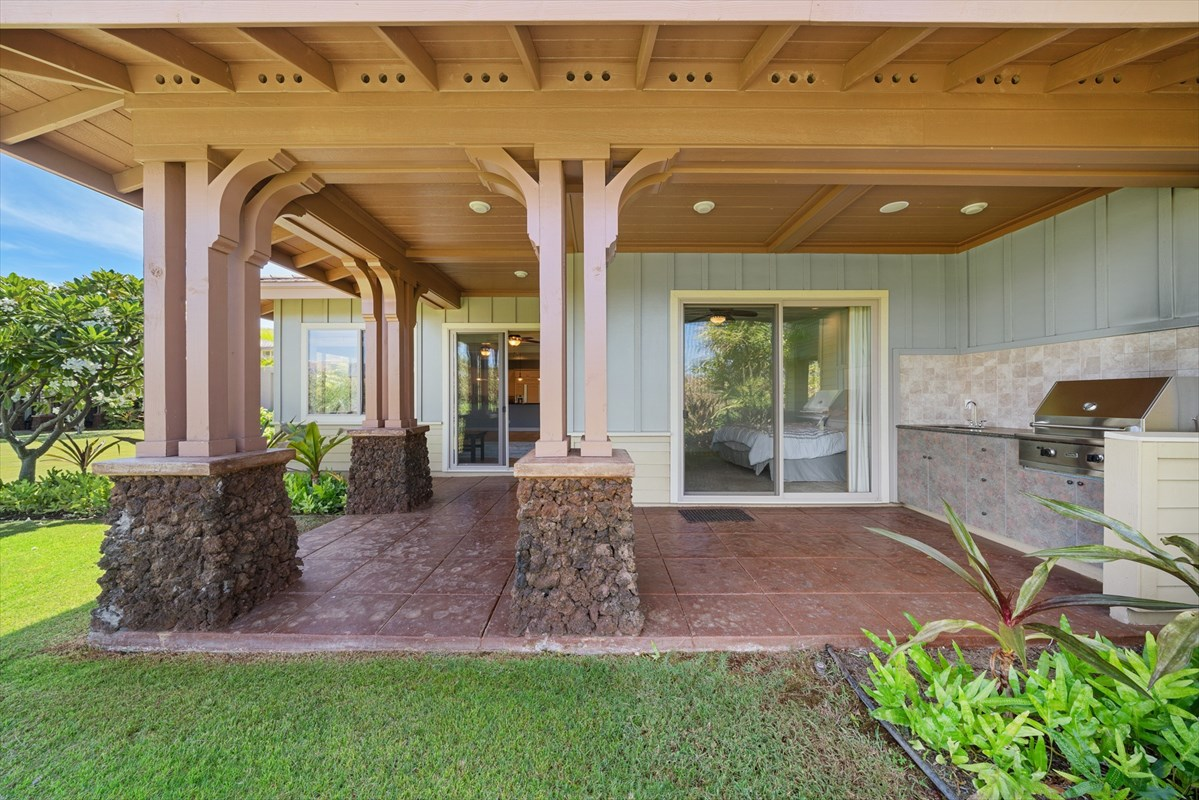 This 3 bedroom Kulalani townhouse is a rare gem- as one of the few three bedroom condos in the complex built since 2013. The newer age combined with very light use have created a condo in excellent condition, and is ready for you to move in and design as you like! This unit has not been used as an STVR. The ground floor features an open living design with high ceilings that will make you forget that you are in a condo. The kitchen provides all the amenities you need, with the style you desire- granite counter-tops, plantation style cabinetry, stainless appliances, pendant lighting, a large pantry with pull out drawers for easy access, and large ceramic tile floors. The owners suite is very large with outside access and a well appointed bath with both a shower and jetted tub. The large ground floor lanai offers a comfortable North facing area to enjoy the outdoors with room for dining, sitting, and cooking on your built in Viking BBQ. Finishing off the ground floor is the 1 car attached garage, offering you space for your vehicle and some of your Hawaii lifestyle gear! The second floor hosts the second and third bedrooms, with a full bathroom.Kulalani is a gated resort complex surrounded by exceptional golf courses, hotels, and shopping. Kulalani offers one of the very finest amenity centers found on the Kohala coast. There is a lap pool for exercise located adjacent to a very well equipped fitness center, as well as a massive family pool, hot tub, a fitness center with locker rooms, and a large covered pavilion with BBQ grills. Residents may also take advantage of membership in the exclusive and highly desired Mauna Lani Beach Club. Kulalani is within walking distance to the The Shops at Mauna Lani, and the ocean, giving residents everything they need for their Hawaii lifestyle.