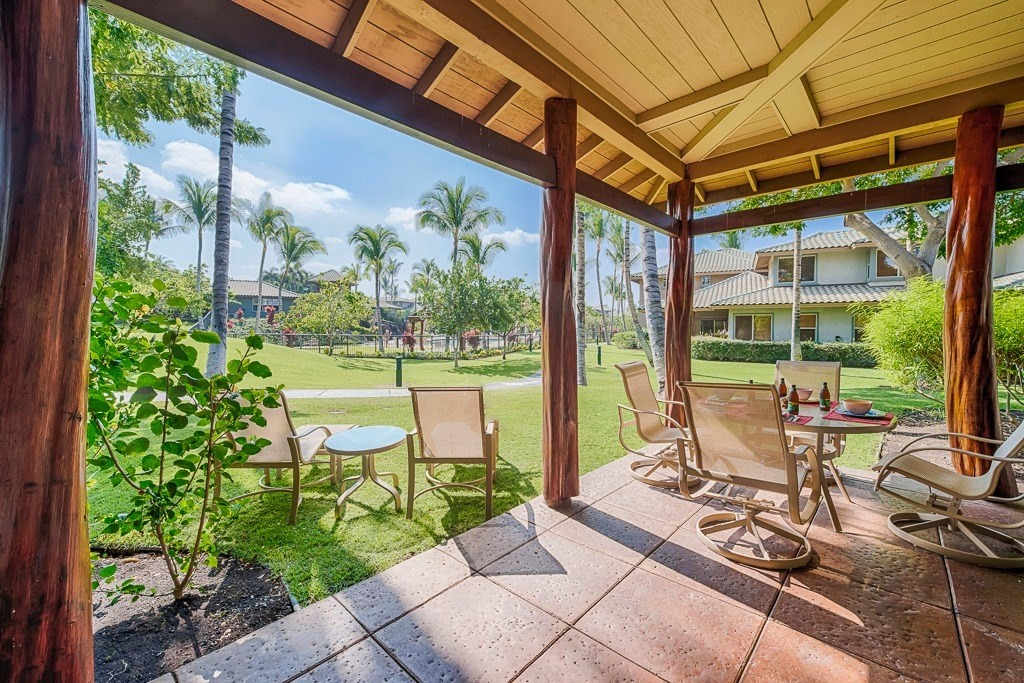 Video Walkthrough Available! Turnkey 3 bedroom, 2-level condo with over 1,900 square feet providing plenty of room for family, friends and privacy. Great location within Fairways at Mauna Lani with a lush garden setting, grassy areas to play and a quick walk to the large pool, fitness center and all the Fairways amenity center has to offer. Townhouse style with no one above or below. Tons of natural light floods in the large tiled living area open to the kitchen, features high beamed ceilings and walks out to the huge lanai with built in Viking BBQ/outdoor kitchen allowing owners to entertain with ease, Hawaii-style. The master suite with large luxurious bath is located on the main level with direct access to the lanai. Two more bedrooms and full bath are located upstairs. The attached garage provides room for a car and all the toys you need to live your Hawaii lifestyle. This property has been meticulously cared for with many updates throughout.The Fairways at Mauna Lani is a gated community on over 20 acres and is located inside the Mauna Lani Resort on the Kohala Coast of the Big Island of Hawaii. Amenities include a pavilion, swimming pool with lava rock waterfall, spa and a fitness center. Conveniently located with restaurants and shopping minutes away. Mauna Lani Resort offers two 5-star hotels, two golf courses and a private beach club with onsite restaurant and bar and beautiful white sand beach.