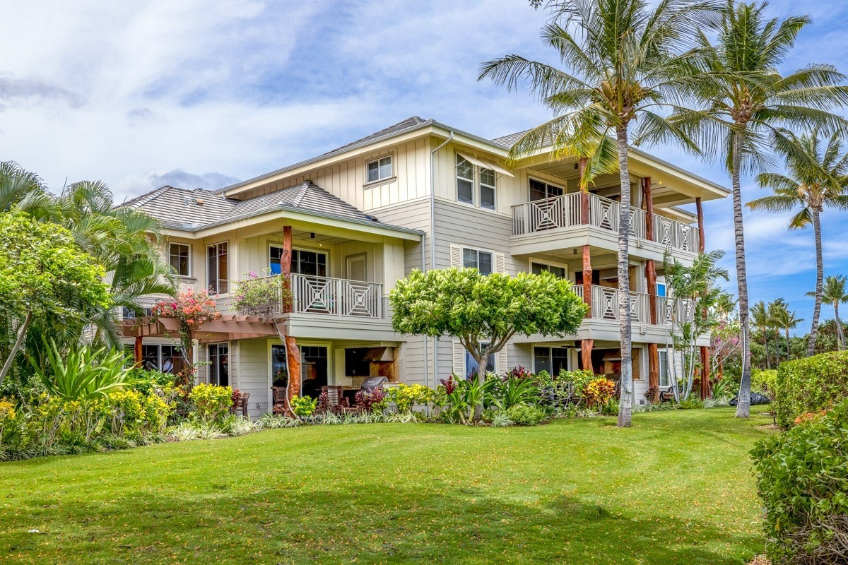 """Back up offers welcome.  From the original Owner comes F3  at the Waikoloa Beach Villas -model unit!!  F3  is a well maintained and nicely appointed 2 bedroom/ 2 full bath, 1209 SQ FT, SINGLE LEVEL ground floor unit with DETACHED GARAGE AND NO STEPS between you and your home!  With a lovely northerly orientation, the unit enjoys the breezes and features a  lanai with a summer kitchen, perfect for all you Grill Masters! Beyond your lanai are landscaped gardens, fragrant flowering trees, grass for kids to roll around on, and the perfect blend of a privacy and openness.   And just beyond the rolling lawns and tropical foliage lies the 3rd and 4th holes of the famed Trent Jones Waikoloa Beach Course.  Enjoy upgrades like the NEWER AC UNIT, extra wide vertical blinds in the living room, granite countertops and cherry cabinetry in the kitchen and bathrooms, and is being sold fully furnished with Art and decor included.  F3 is currently occupied by the owners but it was a successful vacation rental for years and THE STVR PERMIT IS IN PLACE!  The open floor plan design is well thought out with good separation between the Master and guest bedroom.   Your family and guests will love the """"livability"""" of Beach Villas which was rated the """"Best Vacation Property""""  by Hawaii Magazine.  Located right across the street from the Queens Marketplace where you can enjoy dinner, shopping and a movie at the Luxury Cinemas, then just stroll back to your beautiful home.  Amenities include 2 lagoon style pools with spas and a well equipped  exercise room! Waikoloa Beach Resort has 2 sunshine bathed Golf courses, the Kings Shops and Queens Marketplace, and hosts numerous activities ranging from the Big Island Charity Walk to the International Ironman. Tourists and residents love this area ~ and although these are """"crazy times"""" temporarily, the draw of beaches, the ocean, and a beautiful home, are forever."""