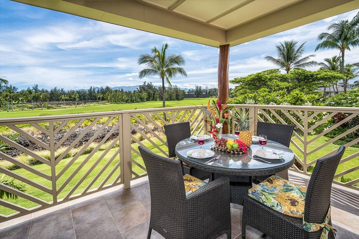 Luxurious 2 bedroom 2 bath unit in Waikoloa Beach Villas. Stainless steel appliances, granite countertops, and a spacious lanai overlooking the Waikoloa Beach golf course. A new dishwasher and washer and dryer were just installed. This unit was meticulously maintained and features an open concept floor plan perfect for entertaining. Beautiful turnkey furnished unit. *Sellers will pay for HOA dues through the end of the year with a full price offer.  The complex offers two swimming pools and spas, a common BBQ area, and a private gym. Only a short walk to 'Anaeho'omalu Bay for snorkeling and other water activities. Located across from the Kings and Queens shops that offer shopping, dining, and a luxury cinema.