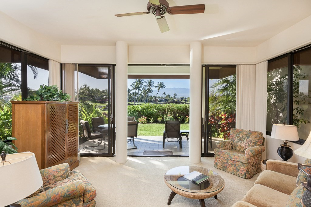 Mauna Lani Point H107 is a ground floor one bedroom end unit surrounded by Mauna Lani South's 11th, 12th and 13th. It has fantastic golf and mountain views. The Mauna Lani Point is extremely well-built and the unit is very quiet and peaceful.  This unit will be great for someone who would like to add value.The community has its own recreation area featuring a waterfall, swimming pool, Jacuzzi, sauna, gas barbecue grills and an entertainment area with kitchen facilities.Sold furnished.