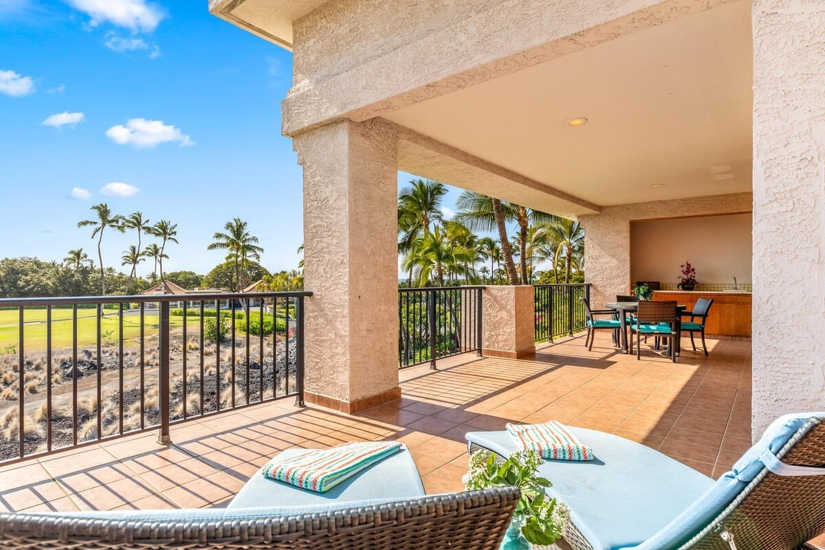 This top floor unit located in the Bo Tree Tower in the Shores is move-in ready.  Unit 334 boasts a large L-shaped lanai with wonderful views of the golf course, mountains, and some ocean too. Part of the lanai is covered while there is also plenty of space to lay out and catch some sun. This is the perfect place to relax and enjoy the Hawaiian scenery! Updates include flooring, granite countertops in both bathrooms and kitchen, updated tubs and showers, and the a/c system was replaced in 2018. The Shores is known for the wonderful grounds including koi ponds and the close proximity to all that Waikoloa Beach Resort has to offer ~ walk to shops/restaurants/beach.  This condo is being sold turnkey and has been in the Aston vacation rental program for years.