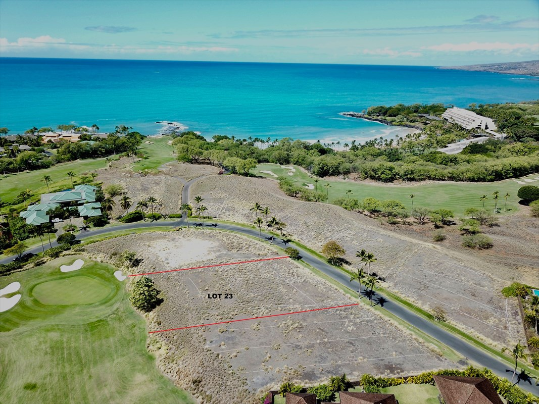Lot #23 at Kauna'oa at Mauna Kea is one of the closest homesites to the beach access and within walking distance to the white sand beach of Kauna'oa Bay.  Overlooking the private 3 hole golf course and lake of Kauna'oa, Lot #23 has approximately 16,673 sq.ft. of net buildable area.  Already graded and ready to go.  This is one of the best priced lots within the highly desirable Kauna'oa Community.  Private clubhouse, pool, spa and golf. Membership at the Club at Mauna Kea available.