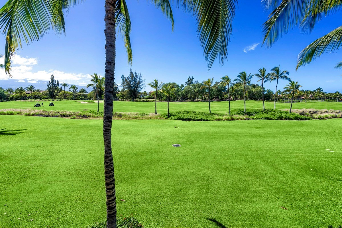 Situated in one of the best locations at Waikoloa Colony Villas, this 1446 sq ft, 2B/2.5B townhouse has it all - beautifull upgrades and shows like model. The  living area has 18 foot ceilings with 10' stacked windows. Arcadia wood floors grace the living and dining areas. With the most sought after open floor plan, entertaining is a delight. From the dining area, the glass sliders open to a lanai with terrific views of the golf course and on a clear day, mountain views also. Nighttime stargazing is awesome! Kitchen offers stainless steel appliances, newly installed back splash, porcelain tile, granite counter tops. The master bedroom suite includes a private lanai, separate shower and bathtub, plus dual sinks. Beautifull furnishings, linens, and kitchenware are included. Just move right in.Colony Villas offers 2 pools (one with a waterfall), a Fitness Center, hot tub spa, BBQs, tennis court, pavillion and high speed wireless internet. Waikoloa Beach Resort offers a variety of shopping, great restaurants, water sports, and a beautiful beach all within walking distance.Features:Arcadia engineered hardwood flooring in dining & living areasPorcelain tile in kitchen, bathroom, & foyerStainless steel appliancesNew back splash in kitchenNew carpet on stairs & bedroomsTwo new Italian All Leather couches with electric reclinersTwo new Lazy Boy reclinersNew entertainment center with TVDesk & entryway pieceRoll up window coveringsGarage with apolxy flooringAdditional parking available