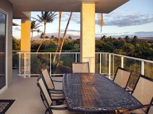 Beautiful 2 bedroom, 2 1/2 bath condo located in the luxurious Waikoloa Beach Resort.  Desirable  'A' floor plan which has a larger kitchen and additional half bath. Huge wrap around lanai with wet bar and access from main living area as well as from the master bedroom. The Vista Waikoloa features superb construction of steel and concrete making the units quieter and peaceful. They don't make 'em like this anymore!  Enjoy sweeping views of 3 majestic volcanoes, Mauna Kea, Mauna Loa and Hualalai!!Tucked away in a private, gated community featuring lush landscaping with tropical plants and beautiful mature trees. A view of the Beach Course golf course and just minutes from other championship golf courses and close to many desirable sites. One of the best is The beach at A-Bay.  Just a short walk away, A-Bay's white sand, crescent beach features world class ocean activities, including snorkeling, kayaking, kite surfing and countless other beach activities in a gorgeous setting. Water excursions are available from the beach at A-Bay, snorkeling, diving, sunset cruises and whale watches!You may not want to leave this gated community due to the access to amenities including a nearly Olympic size saline heated pool, 2 spas, fitness center, media room, large BBQ area and pavilion, and business office.