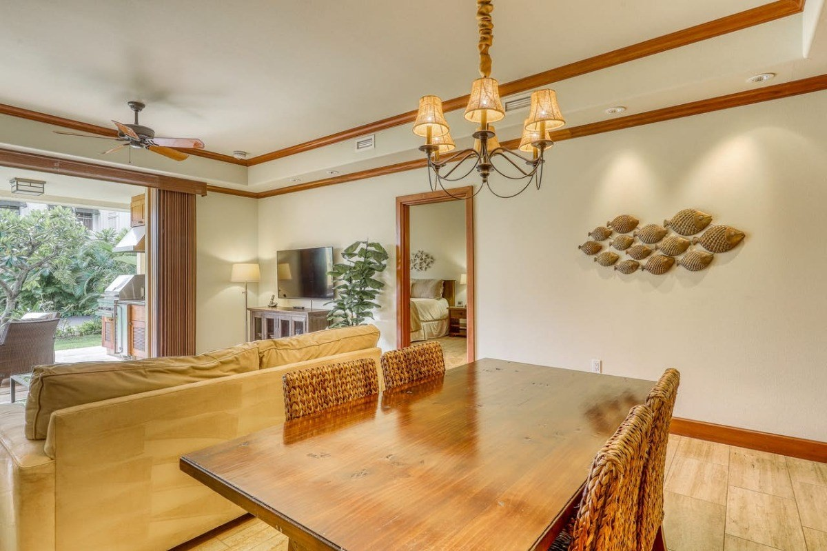 Kolea Kai condominium is Waikoloa's prestigious and highly sought after luxury complex on the Kohala Coast. This is your opportunity to live in the paradise you have always dreamed of. 16D is beautifully laid out with 2 bedrooms and 2 full bathrooms. The entry, great room and kitchen have tasteful tile floors for easy maintenance. You will find cherry wood cabinets along with granite counters in both the kitchen and bathrooms. Upgraded stainless steel appliances are ready for your gourmet touch. You will enjoy indoor/outdoor living with access to the large lanai through the 9' retractable glass doors in the great room. The lanai boasts a beautiful private BBQ/outdoor cooking space for entertaining your guests on those warm Hawaiian nights. Whether you are looking for a forever home to enjoy or in search of a part-time vacation home with investment opportunity this is it. This unit is being sold fully furnished and is a successful permitted STVR with future bookings already in place. View Virtual Tour Here: https://my.matterport.com/models/hftzndvfCo1?cta_origin=all_spaces_page§ion=media&mediasection=showcaseOn site amenities are nothing short of amazing. Enjoy the beautiful Beach Club with direct beach access, infinity pool & spa, a sand bottom kiddy pool, and a wonderfully maintained exercise facility. The Guest Hales are available to be reserved by owners for their family and friends to enjoy while visiting. You will not find an amenity like this at any other location within Waikoloa Beach Resorts. Take a pleasant stroll through the Waikoloa Beach Resorts. Here you will find fantastic restaurants, wonderful retail shops, & incredible golf. Paradise awaits you!Agents and Buyers must independently verify any information they deem material or important to their purchase. All information in this listing is supplied by property owner and/or Hawaii Information Service.