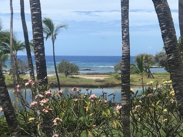 Great opportunity to own a 1/4 interest in a beautiful, renovated, two bedroom, ocean view Mauna Lani Terrace unit, B 201.  Owners share the unit each with 3 months a year at dates agreed upon between the owners.  Large G floor plan with level entry and no stairs. For those who desire a vacation home for just a few months a year without renting or leaving vacant at 1/4 of the cost just $875 per month ( taxes, AOA , utilities) this is an ideal offering.