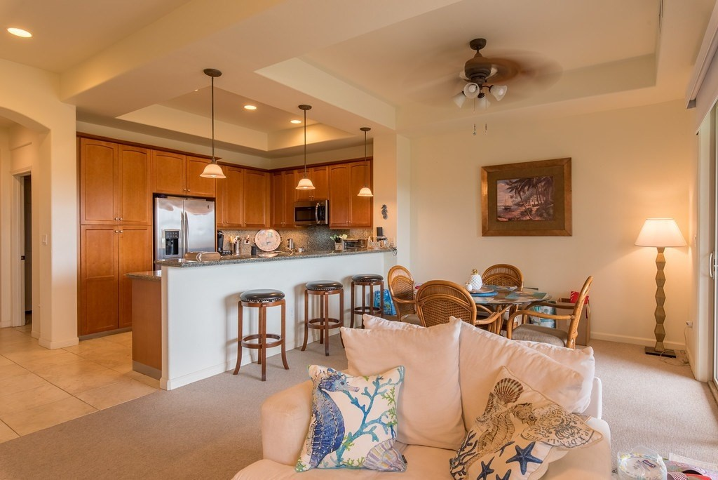"""Note $2500 Buyer Credit at closing. It's all about the location! & at this price! in the most architecturally-appealing, low density neighborhood. Wait til you see the shower trees in bloom!2 suites w/powder bath on main.  Once you've entered the 10' door off ohia-trimmed porch w/stone bench, you find a formal foyer w/porcelain tile & the modern open stairway with oak rails.  Few town homes offer this impressive experience of expansion as the views, the long bar of the granite kitchen with its great maple cabinetry, including a pantry w/pull-out drawers & under-counter lighting. This is what resort living is all about...sit awhile; kibitz about the tee-offs as the 12 fairway of the North Course is beneath you.  There are wall treatments & easy-to-clean contemporary blinds.  Spacious master has its own 9X10 retreat, bed-wall lighting + trimmed crown ceiling treatment.  The master bath has sep water closet, dbl lavs, 5' shower & jetted tub. The master lanai is one of the largest available anywhere! There are plant shelves, some art gifted to you, a granite summer kitchen w/a 31"""" Viking propane grill w/rotisserie & smoker attachments.  An upgrade closes off the laundry room. Lockable Stor Rm in Attached Garage.  You'll enjoy the homeowner's pavilion; great for big parties.You'll be eligible to become a member in the Mauna Lani Beach Club & Advantage Club that includes great golf discounts on both the world-class courses here in the fun Mauna Lani with full service Mauna Lani Sports & Fitness Center, pro-shop at the golf course, shopping & restaurants in the The Shops at ML, plus the 2 grand hotels: The Fairmont Orchid (a short walk away with its spas & services, white sand beach for your use) & the new Mauna Lani Auberge Hotel.  Walk, bike or golf cart to all you'll need in your home-away-from-home here in your unbelievable Fairways town home perched over the manicured & thrilling golf course you'll be challenged by & love!"""
