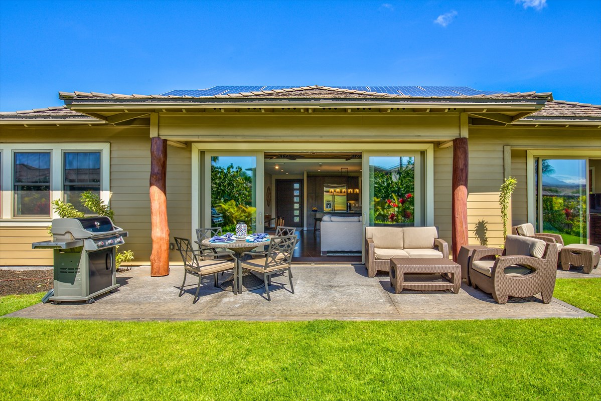 KaMilo 422 is the lowest priced detached home for sale in The Mauna Lani Resort.  Successful vacation rental, vacation rental permit, fully furnished, turnkey, leased solar with a Net Energy Meter and more.  One of only 12 cottages ever built in KaMilo.  This home is the perfect size for you and your family whether you plan to use it as a primary residence or a vacation home.  Not to mention, no stairs!The unique island-inspired 1,694 square foot, 3 bed, 3 bath Keanu A floor-plan boasts two master bedrooms, the first of which has great views of Mauna Kea, easily accommodates a king bed, large walk-in closet and large spa-like ensuite including a double vanity sink, separate shower and bathtub and floor-to-ceiling tiled walls.  The second master bedroom also easily accommodates a king bed, walk-in closet and ensuite with glass and travertine accents.  The third bedroom nicely fits two twin beds or one queen bed and has its own well appointed bathroom.The spacious and open kitchen features stainless-steel appliances, granite counter tops, tile and glass backsplash and large island with seating for up to 6 people.  The kitchen is open to the dining, living and outdoor areas making it a wonderful place for gatherings, family meals, watching games and enjoying the indoor/outdoor lifestyle we love so much here in the islands.  The central part of the home also has dark bamboo hardwood floors and grass-cloth wallpaper accented vaulted ceilings with wood trim, while the entire home is equipped with central air conditioning, 9' tall ceilings and 8' tall doorways.As a KaMilo homeowner you also enjoy a 2-acre recreational area that includes a family pool, lap pool, jacuzzis, fitness center, and gathering hale.  You will also have access to the Mauna Lani Beach Club, which includes outdoor dining at the Napua Restaurant and a beautiful white sand swimming/snorkeling beach.  Also within walking distance is the Fairmont Orchid Hotel, beaches and the Mauna Lani Shops.